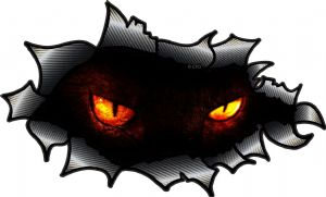Ripped Torn Carbon Fibre Fiber Design With Evil Demonic Demon Horror EYES Motif External Vinyl Car Sticker 150x90mm